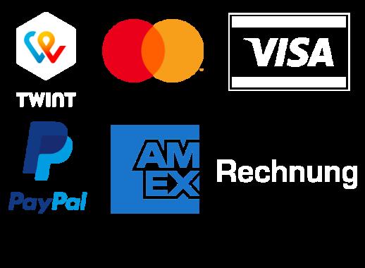 Bezahlen Sie mit Twint, Mastercard, Visa, PayPal, Postfinance Card, Postfinance E-Finance oder Rechnung